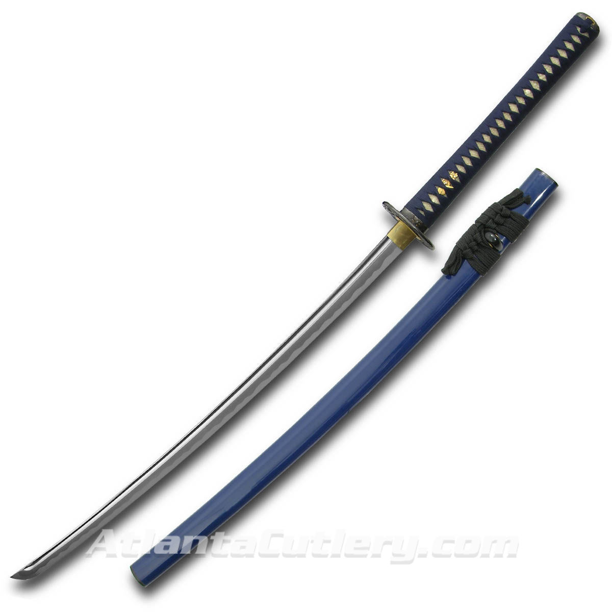 Golden Oriole Katana with deeply lacquered blue saya