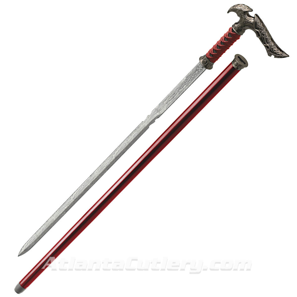 Kit Rae Axios Forged Sword Cane has Carbon Steel blade released with a push of the hidden button
