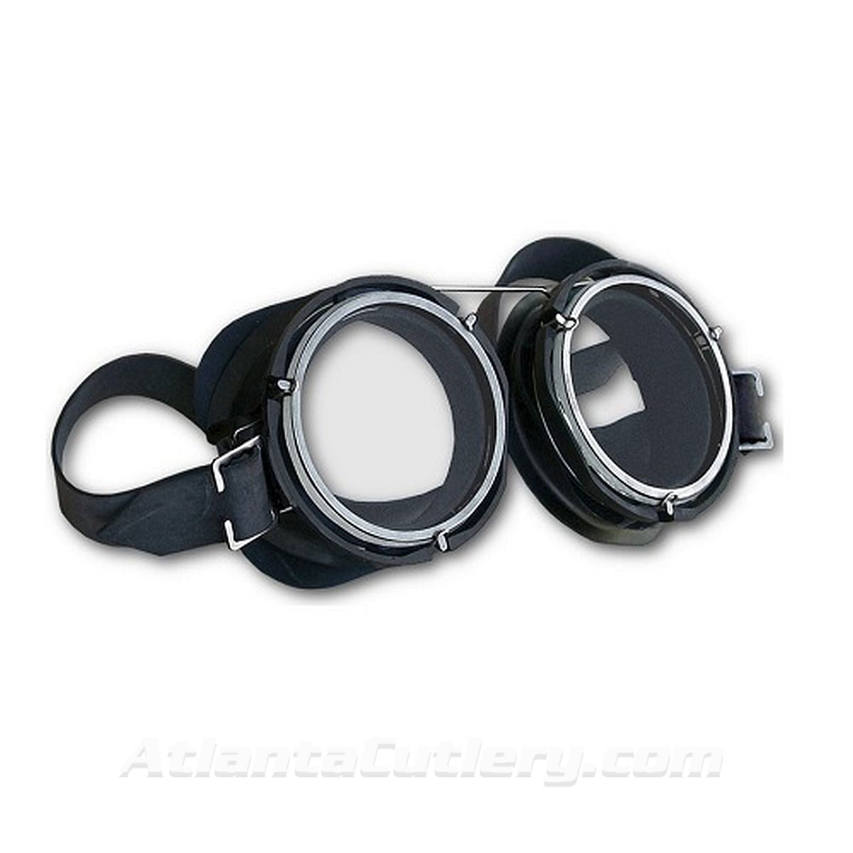 WWI Flying Ace Goggles have black plastic & wire frames, black rubber cups, and clear lenses with an adjustable rubber strap