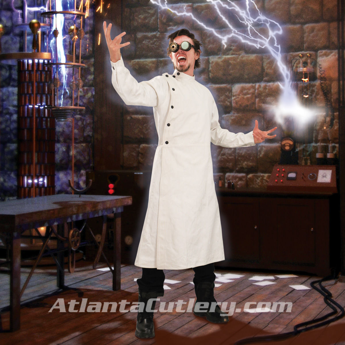 Mad Scientist Victorian White Denim Lab Coat