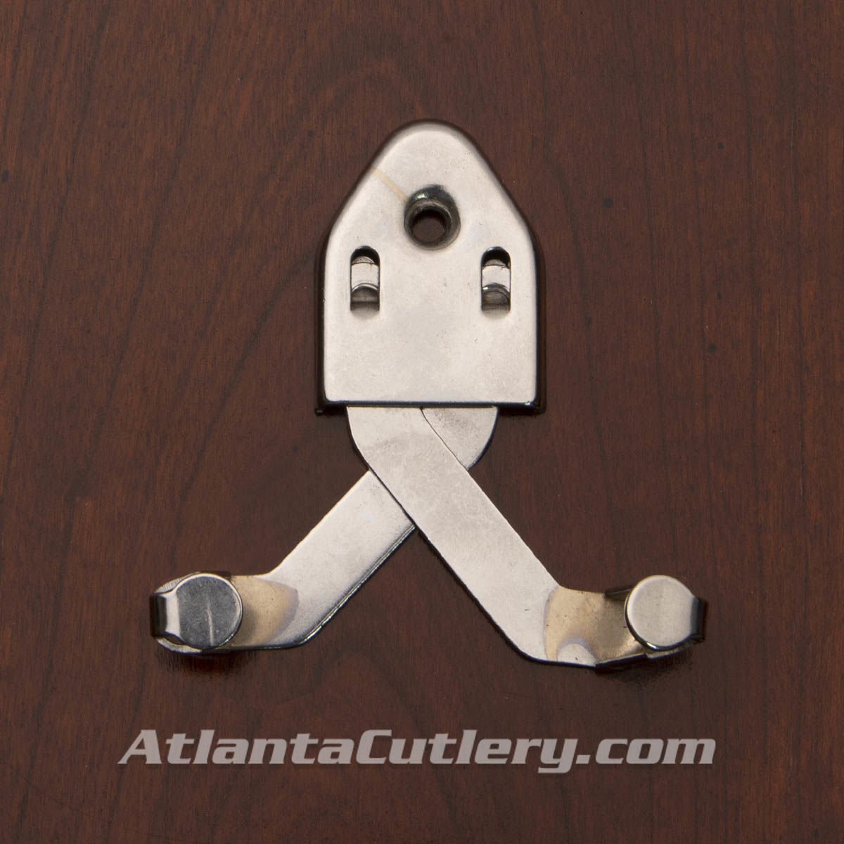 Polished steel sword hanger with adjustable bracket. With the sword hung the hanger practically disappears.