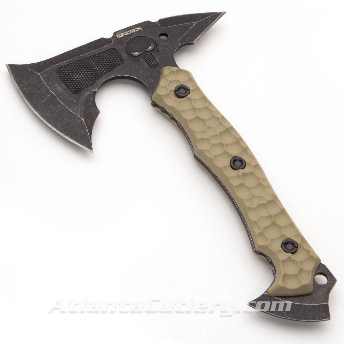 Camp Hatchet designed in USA is constructed from one-piece of CR13 stainless steel with textured G-10 scales for a good grip.