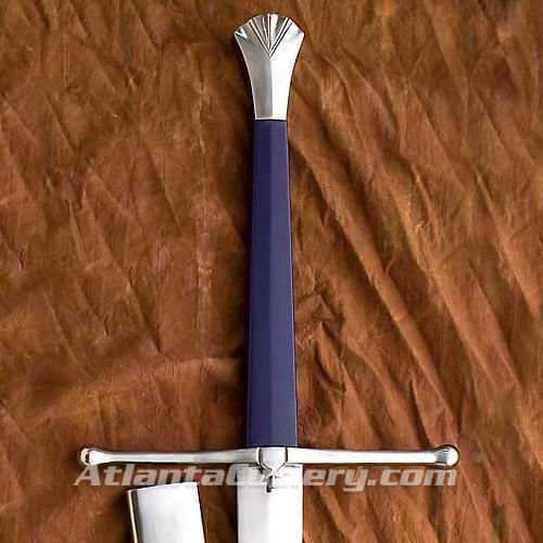 This sword is balanced for two-handed use, allowing for sweeping cuts. Wood grip is covered in leather, parts are steel.