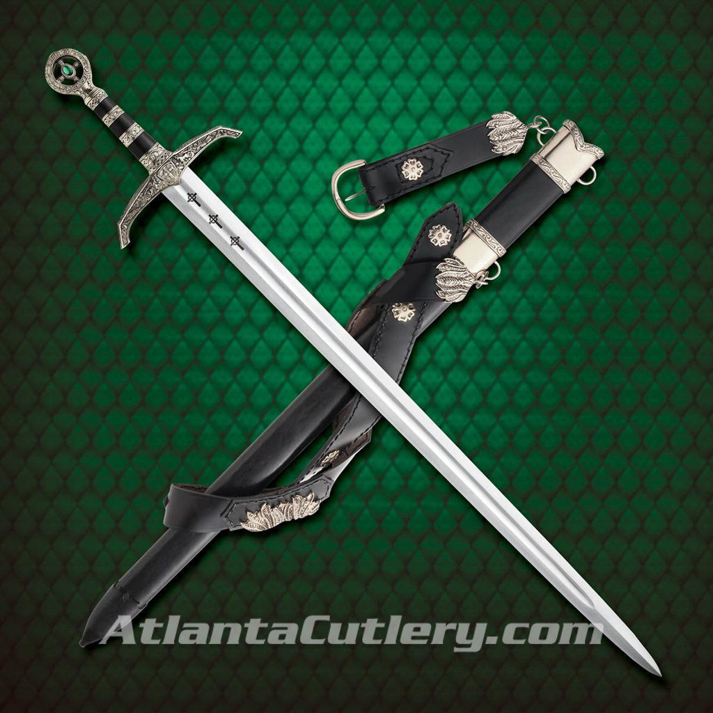Sword of Locksley includes leather sword belt with scabbard that have been beautifully decorated with metal fittings