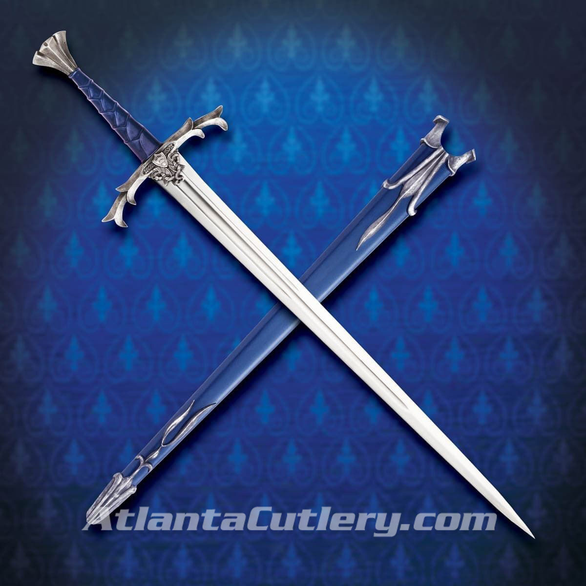 Windlass Excalibur two-handed sword has high-carbon steel blade, antique finish on metal fittings, blue leather grip
