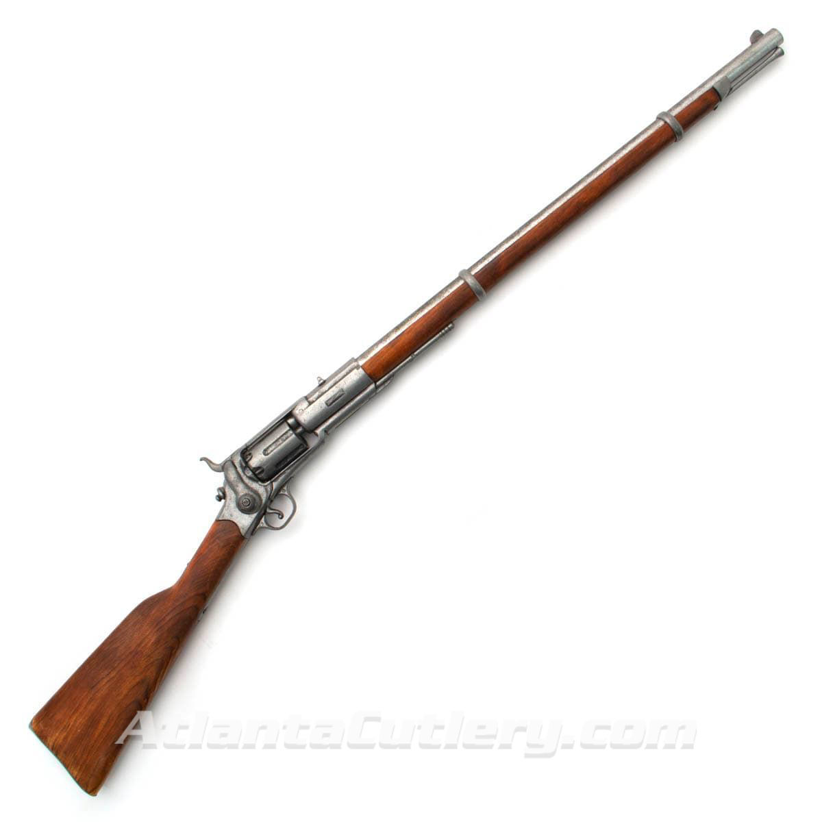 nonfiring replica M1855 Percussion Rifle Revolver with wood stock and metal working trigger, sidehammer and rotating cylinder