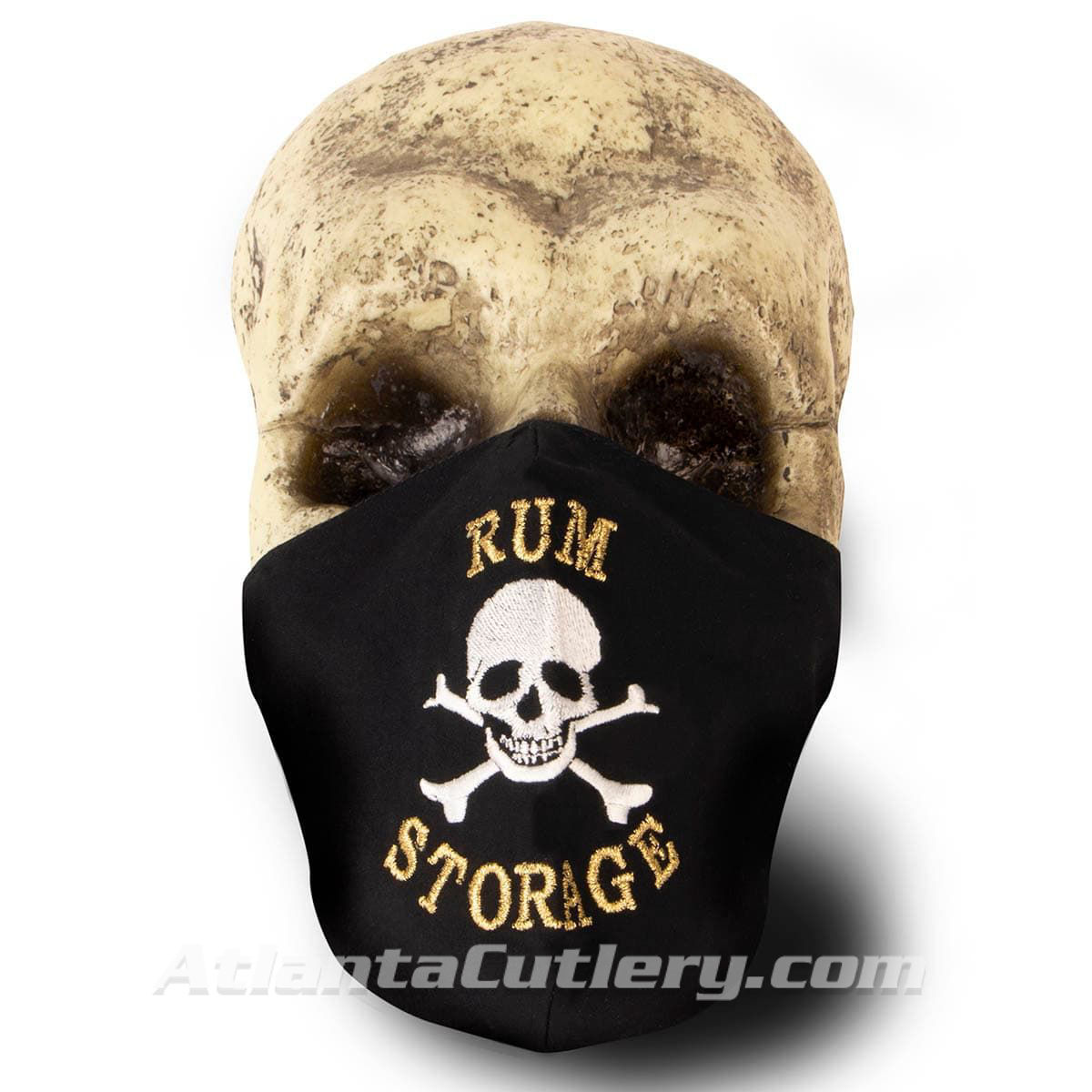 Black Cotton Face Mask with silk embroidery stating Rum Storage, adjustable straps and pocket for disposable filter