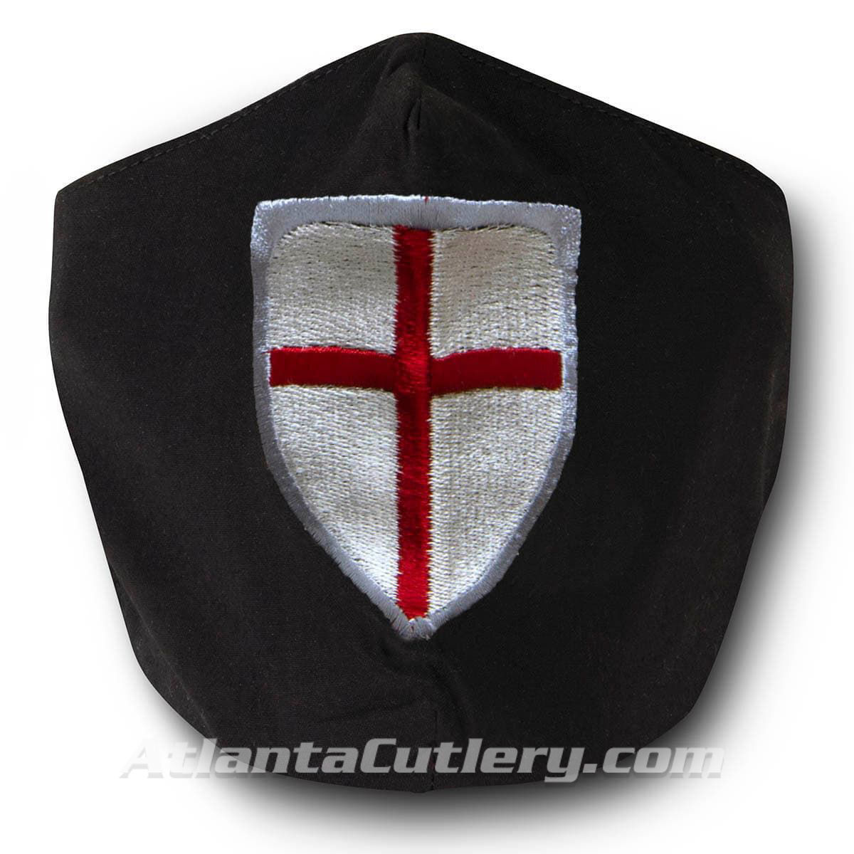 Black Cotton Face Mask with silk embroidered Crusader Shield, adjustable straps and pocket for disposable filter