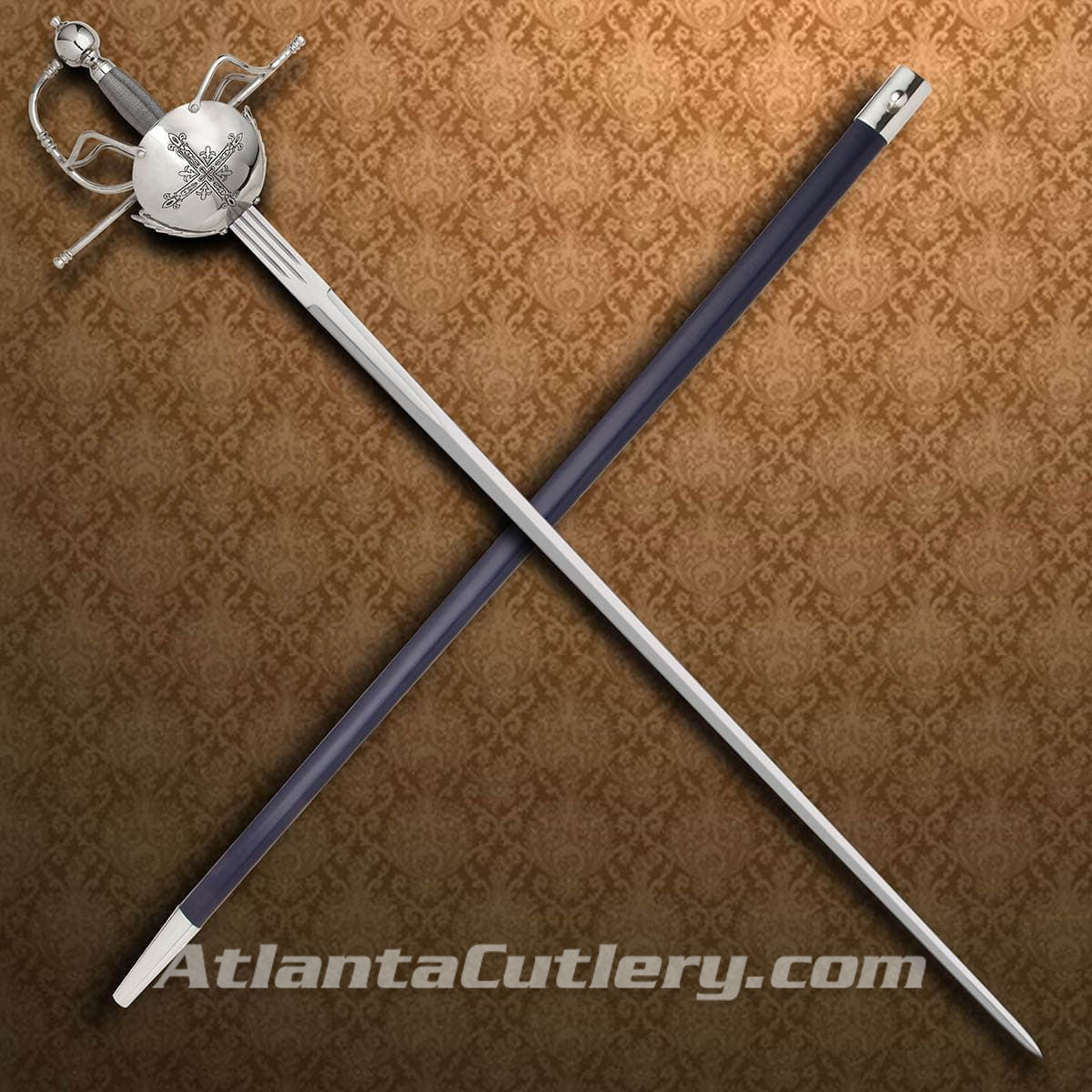 Musketeer rapier has nickel plated ambidextrous basket hilt, twisted wire grip, sharp high carbon steel blade and includes scabbard