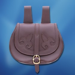 Brown Leather Pouch with Dual Fleur de Lis Pattern