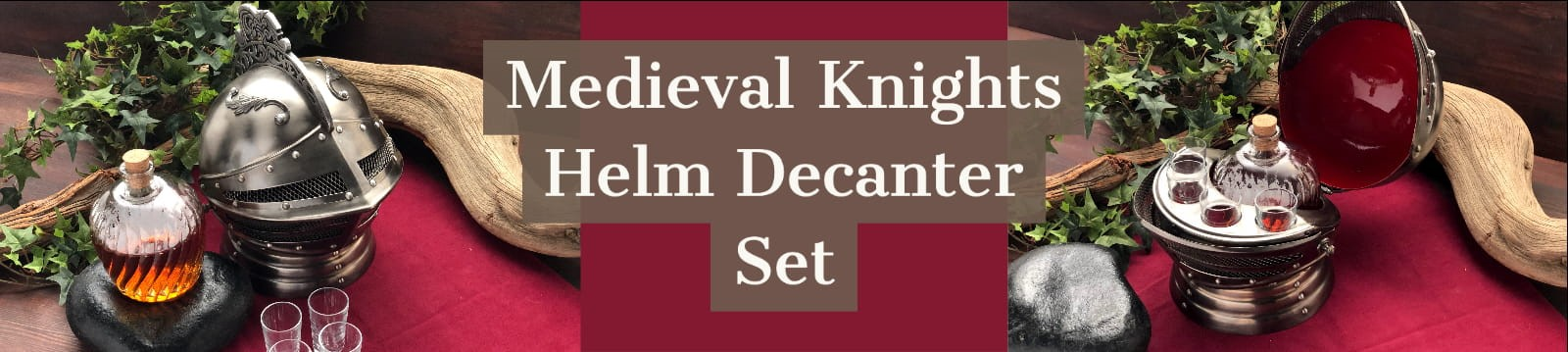 New Medieval Knights Helm Decanter Set with Glass Carafe and shot glasses