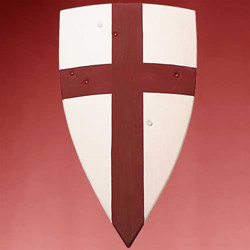 Crusader Wooden Shield - Red painted Cross