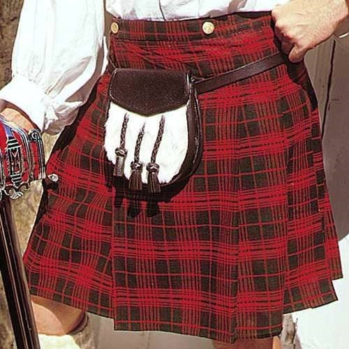 Early Scottish Pleated Kilt - Red/Green