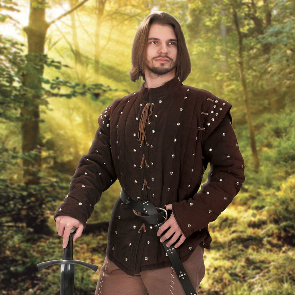 This heavy gambeson is two pieces, a corduroy undershirt and quilted sleeveless gambeson. chocolate brown corduroy, both are padded and studded.