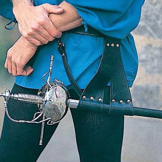 Picture of Split Strap Black Leather Belt
