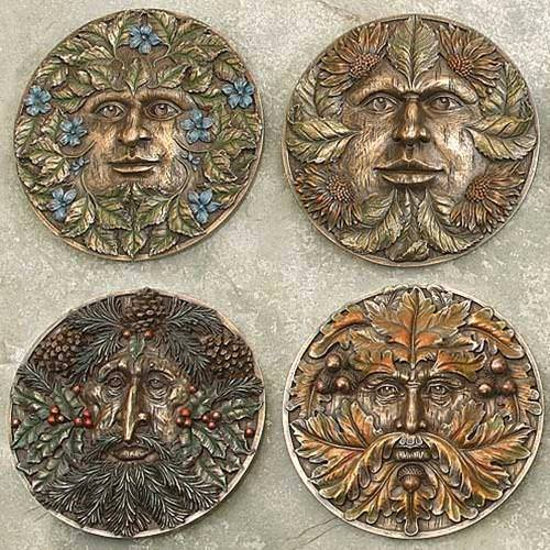 Picture of Green man for all Seasons Set of Plaques