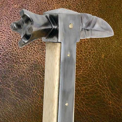 The steel head of the Medieval German War Hammer is secured to hardwood shaft with steel langets