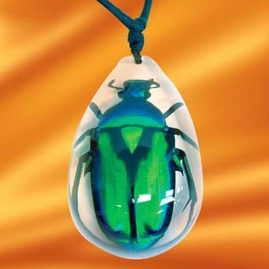 Picture of Insect Art Green Rose Chafer Beetle Necklace