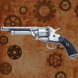 Le Mat Non Firing revolver features working single action loading lever and simulated checkered ebony wood grips