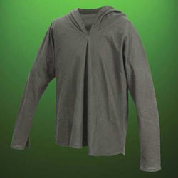 Soft all-cotton, green medieval hooded outlaw shirt has eyelets at the neckline