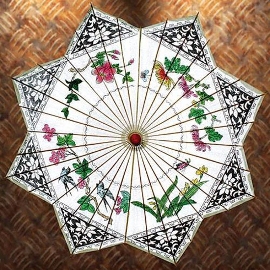 Picture of Songbird Painted Rice Paper Parasol