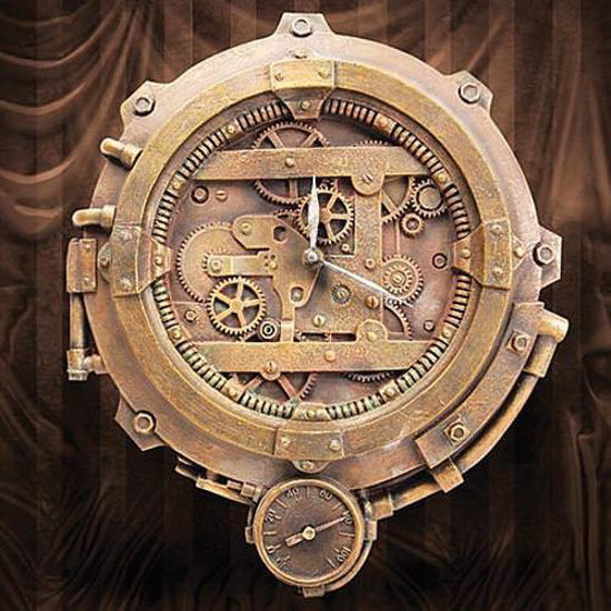 Picture of Steampunk Wall Clock with Thermometer