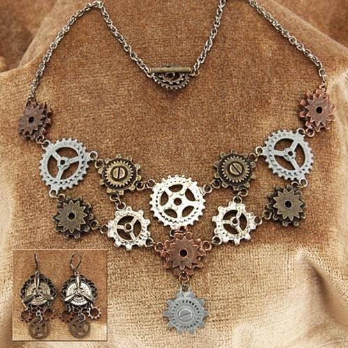 Picture of Multi Gear Steampunk Necklace & Earrings