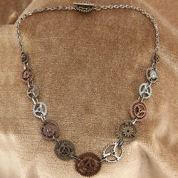 Picture of Single Chain Steampunk Gears Necklace