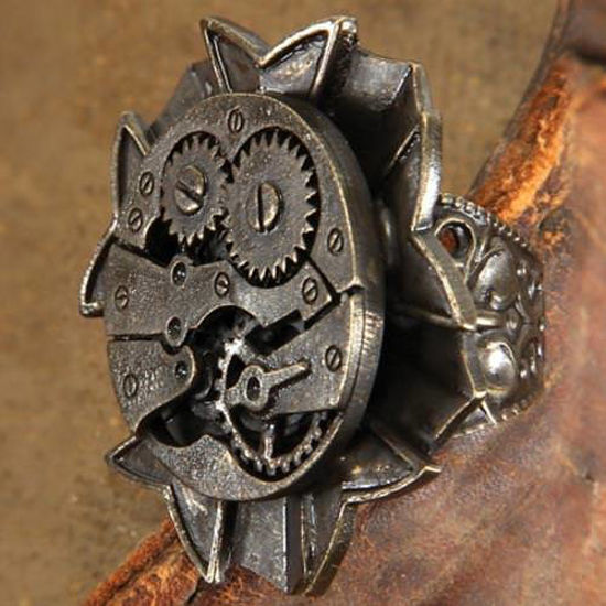 Picture of Watch Gears Antiqued Steampunk Ring