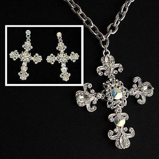 Picture of Fleur de Lis Crystal Cross Necklace and Earrings
