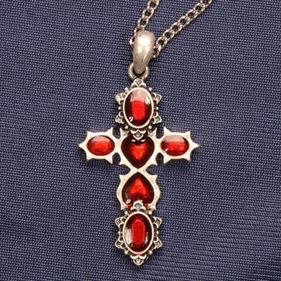 Picture of Cross w/ Red Hearts Necklace