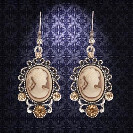Picture of Victorian Brown Cameo Earrings