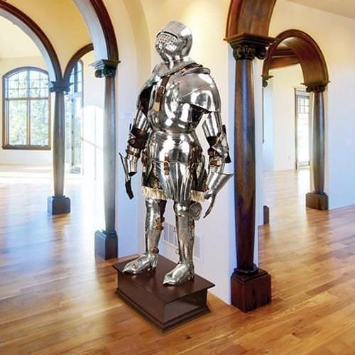 Gothic Suit of Armor on Display Pedestal