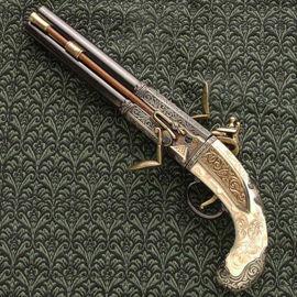 Double Barrel Turn Over Pistol is non firing replica from Denix