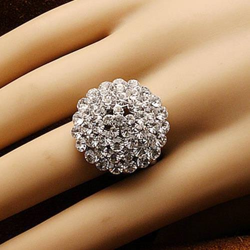 Picture of Jeweled Clear Stone Adjustable Ring