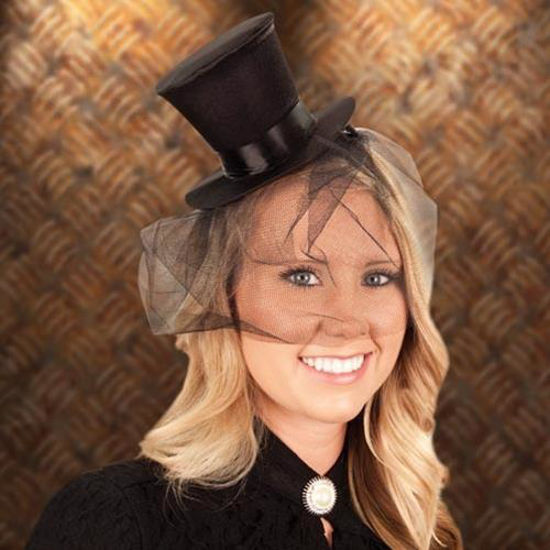 Picture of Mini Black Top Hat & Veil
