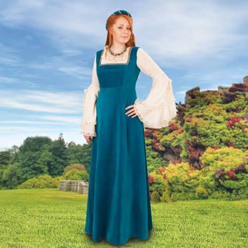 Teal Blue Soft cotton velvet form-flattering medieval overdress with square neckline trimmed in gold, headband is included