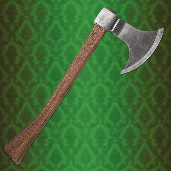 Medieval Huntsman Axe has a thick wooden handle for a good grip, and a high carbon steel axe head
