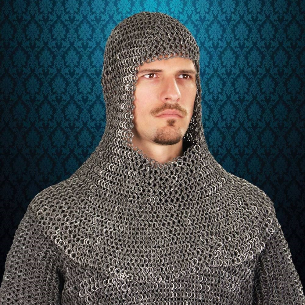 Riveted Darkened Aluminum Mail Armor Coif