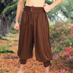 Brown Wayfarer pants with elastic waist and lace calves