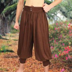 Brown Wayfarer pants with elastic waist and lace calves