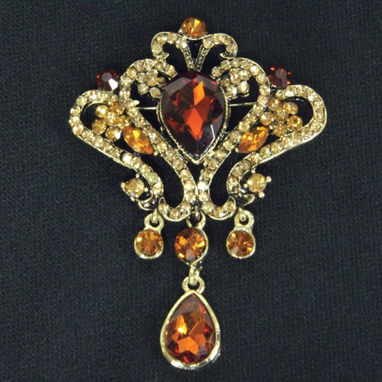 Picture of Amber Jeweled Brooch