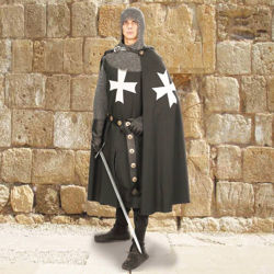 Hospitaller Knights Black Cape with Hood