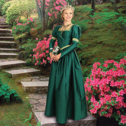 Green Taffeta dress has ballooned shoulders, tight sleeves, a full gathered skirt and gold trim at collar, waist and biceps
