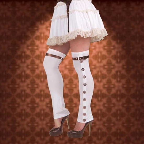 Picture of Ladies White Buckle Spats