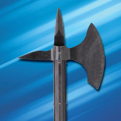 Battlecry Orleans Battle Axe in 1065 high carbon steel with darkened, battle-hardened finish and sharpened edge