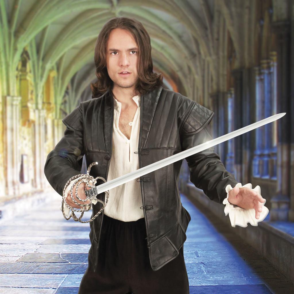 D' Artagnan Black Leather Renaissance Doublet