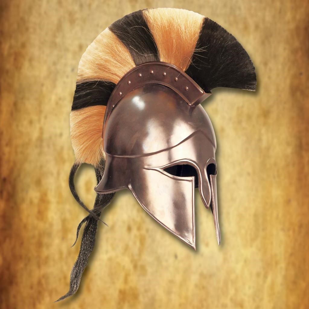 Greek Corinthian Steel Helmet with Crest