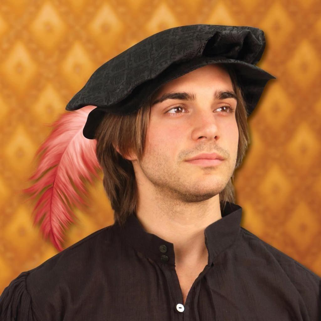 Tudor Renaissance Flat Cap - Black