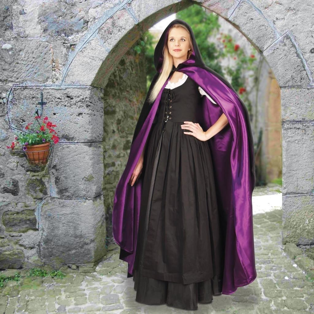Hooded Black Velvet Cloak with Lining – Purple